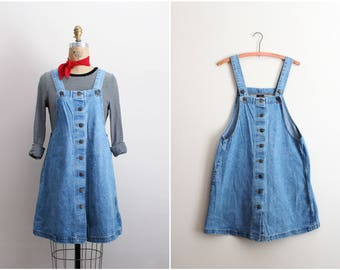 90s Denim Midi Dress / 1990s Jean Dress / Pinafore Dress / Apron Cotton Dress/ Size S/M
