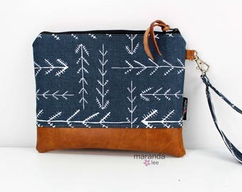 Flat Clutch Large Native Blue PU Leather READY to SHIp