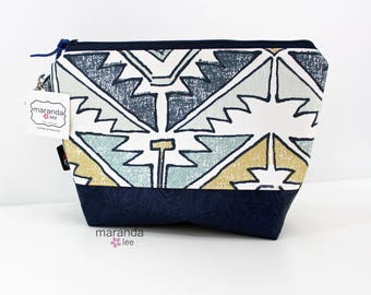 AVA Clutch -Large - Soul Blue with Blue PU Leather READY to SHIp Cosmetic  Diaper bag Travel Make Up Zipper Pouch