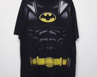 Batman Shirt Vintage tshirt 1989  Batsuit Costume Tee 1980s DC Comics Gotham Dark Knight Comic Book Joker Bruce Wayne