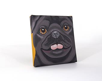 "Pug Art Print on Canvas - Black - Pug Art - 5"" x 5"""