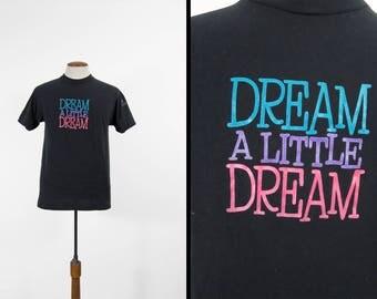 Vintage Dream a Little Dream T-shirt 80s Movie Tee Film Production Black - Large
