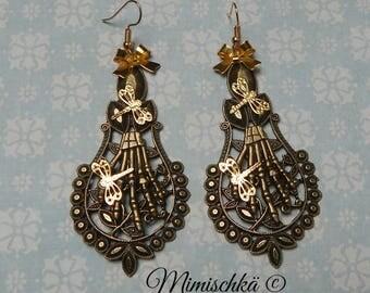 earrings gothic skeleton hand dragonfly creepy garden