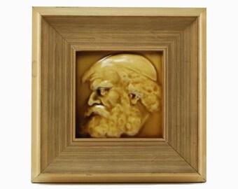 Antique Arthur Osborne Portrait Tile - The Philosopher