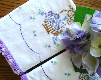 Set Of 2 Flower Basket Pillowcases / Hand Embroidered / Purple Flowers / Purple Lace / White Cotton Pillowcases / Summer Bedding