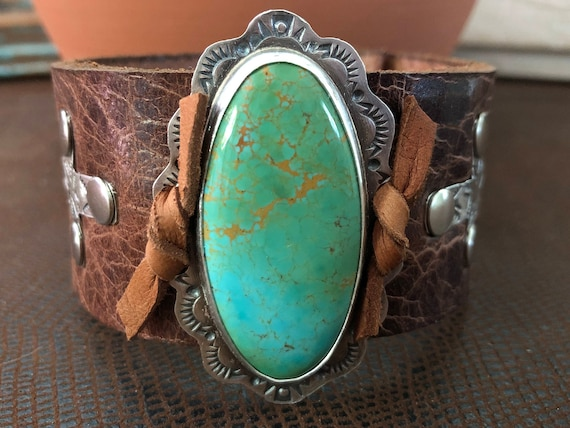Handmade Leather Cuff, Southwestern, Blue Green Kingman Arizona Turquoise, Wide Brown Water Buffalo Leather Cuff, One Of A Kind, Cross Cuff