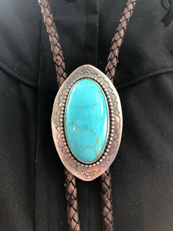Handmade Jewelry, Women's Bolo Tie, Southwestern, Boho, Blue Kingman Arizona Turquoise, Bolo Tie, One of a Kind, Turquoise Bolo