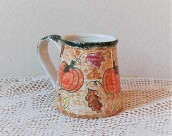 Autumn Pumpkin Sponge Ware Mug Hand Painted