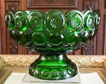 Vintage Kemple Moon and Stars Variant Compote Emerald Green
