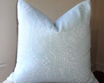 NEW P. Kaufmann Baby Blue White Paisley Geometric Pillow Cover Home Decor by HomeLiving Size 18x18