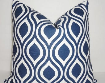FALL is COMING SALE Navy & White Geometric Pillow Cover Ikat Tear Drop Decorative Throw Pillow Cover 18x18