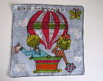 Vintage Bon Voyage Handkerchief Hanky - Dessin Depose - Boy Girl in Hot Air Balloon Butterfly French Novelty Hankie - Artwork - Collectible