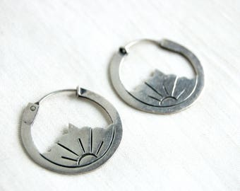 Flower Hoop Earrings Vintage Mexican Sterling Silver Lotus Hoops Taxco Mexico Thin Floral Everyday Jewelry