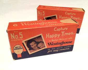 Vintage unused FLASHBULBS - Westinghouse #5 - Clear - NOS - Qty:10
