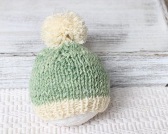 Knitted Sage new born baby boy hat,photo prop, Beanie Hat with Pom Pom