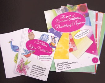 The A-Z of Creative Crafting -  Pre Coloured toppers and Backing Paper bundle