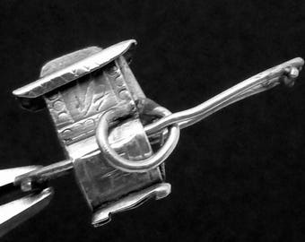 Vintage 800 Silver Chinese Rickshaw Carriage Charm Pendant 23067