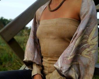 silk shrug, ecoprint bolero, satin silk shrug, long sleeves shrug, silk long sleeves, wrap bolero, shrug for dresses, bridal shrug bolero