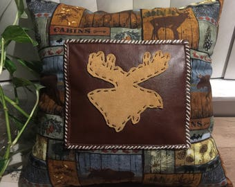 Rustic Cabin Pillow Hand Made Lodge Man Cave Decor Outdoors Suede Hand Stitched Moose Head on Faux Leather Nature and Trees Decor