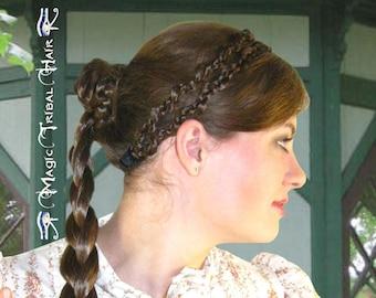 BRAID HAIRBAND Double elf plait headband hair extensions C U S T O M COLOR hair piece Renaissance costume tiara Medieval diadem hair jewelry