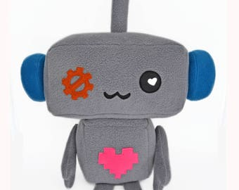 BIG Robot soft toy plush toy plushie heart metal cute kawaii plusheez cube square soft and cuddly machine