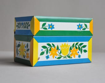 Vintage Tin Recipe Box with Recipe Cards