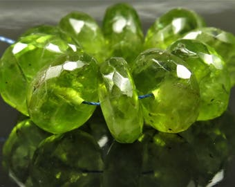 Natural Genuine Peridot Micro-Faceted Rondelle Beads - 8.5mm x 3.3mm - 10 beads - B7431