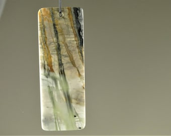 Abstract Beauty ~ Woods in the Mist ~ Large Scenic Gorgeous Picasso Marble Rectangle Pendant - 60 mm x 22 mm x 5.3 mm - B7053