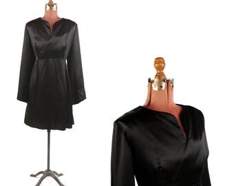 Vintage 1960's Black Silky Satin Long Bell Sleeve Mini Hippie Cocktail Party Dress Plus Size XL