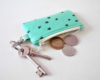 Women's star cluster navy blue aqua change pouch key chain fob coin padded gadget purse.