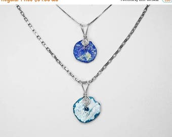 Roman Glass Pendants in Silver, Choice of 2