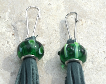 Leather Zipper Pull/ Set of 2/ Glass Bead with Leather Tassel/ Two Zipper Pulls/ Ready to Ship/ Bag Charm