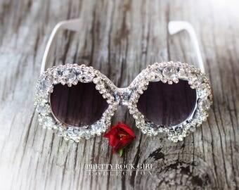 resort sunglasses, destination bride, resort bride, Circle Sunglasses, resort,  vacation sunglasses, Circle Sunglasses, Crystal Sunglasses