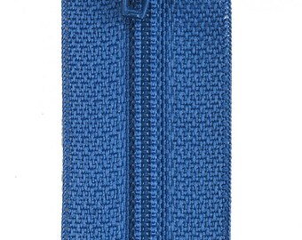 Three total All-Purpose Polyester Coil Zipper, Pilot Blue#F7212-004B; (2) 12in and (1) 14 in.