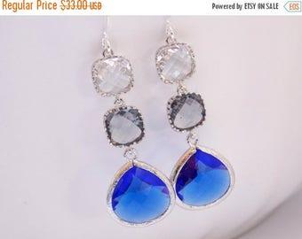 SALE Blue Earrings, Charcoal, Gray, Silver Earrings, Clear, Crystal, Cobalt, Bridesmaid Jewelry, Bridesmaid Earrings, Bridesmaid Gifts