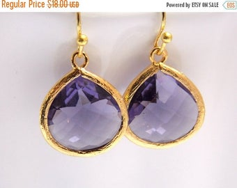 SALE Purple Earrings, Glass Earrings, Amethyst, Gold Earrings, Tanzanite, Bridesmaid Jewelry, Bridesmaid Earrings, Bridesmaid Gifts