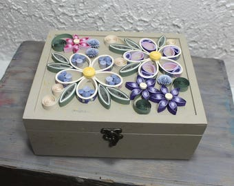 Wooden tea caddy, 9 compartments tea caddy, driftwood tea caddy, tea bags box, tea storage, herbal tea, quilled box, upcycled paper