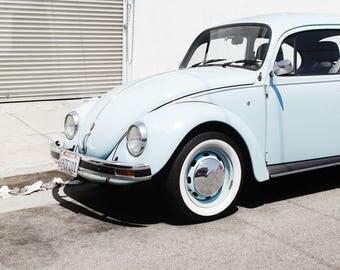 Baby Blue Volkswagen Beetle, Arts District Los Angeles, Fine Art Prints and Handmade Canvas Wraps, Volkswagen Type 1, VW Bug, Large Wall Art