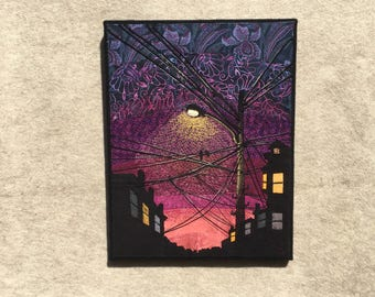 Two Birds on a Dark Night, 14x18 inches, original sewn fabric artwork, handmade, freehand appliqué, ready to hang canvas