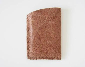 Le petit bohème - Distressed Rustic Toffee Brown Leather Card Holder, hand stitched, handmade, hazelnut, faded, speckled, rugged, 2x4