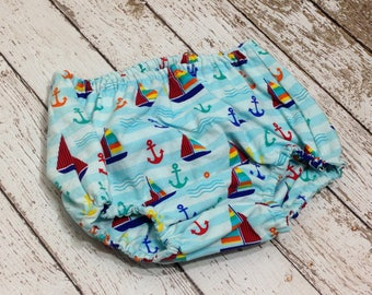 Diaper Cover Baby Boy Photo Prop Nautical Anchors Sailboats Blue Ready to Ship