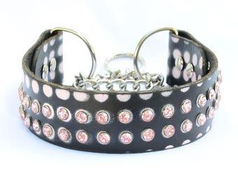 Sophisticated Black Leather Martingale Dog Collar,  Pink Martingale Leather Dog Collar. Leather Chain Collar,  Medium / Large