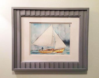 Beach artwork, large watercolor painting, original Sailboat painting, nautical artwork, ocean watercolor, blue artwork, boat art