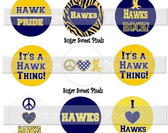 INSTANT DOWNLOAD Hawks School Mascot Navy Blue Yellow Gold 1 inch circle Bottlecap Digital  Images