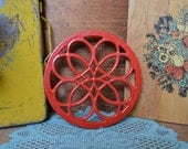 Vintage Cast Iron Enamel Red Round Trivet Accent Piece Kitchen Decor with Feet Enamelware