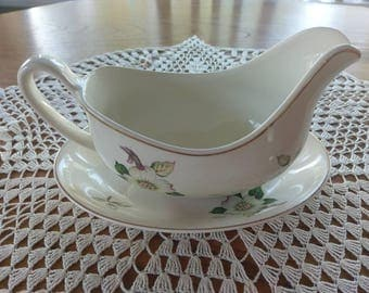 1920's Johnson brothers Dogwood gravy boat and platter.