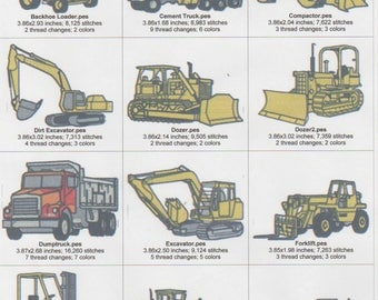 18 Heavy Equipment machine Embroidery Designs for 4x4 Hoop. Instant Download Zip Files, Pes,Vp3,Jef,Hus, Dst