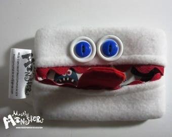 Kleenex Kreature; Tissue Holder; Pocket Tissue; Travel hankie;  back to school; purse pal; tissue cover; white blue tissue monster