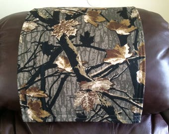 Outdoor Print, Chair Headrest Cover, Reclincer Cap, Furnitue Protector, Camo, Woods Print, Polyester, 14x30, Theater Seat Pad, For Him