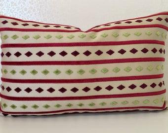 Oblong beige linen cushion cover Magenta pink stripe pillow Apple green diamond pattern pillow Beige Pillow Pink green velvet MoGirl DESIGN